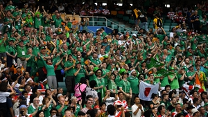 Ireland fans during their pool defeat to hosts Japan