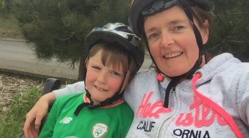 Siobhán Madigan and her seven-year old son Cillian, who is a big Dubs fan like his mother