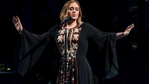 Adele on stage at Glastonbury 2016