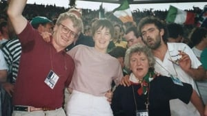 John Egan, left, and Nell, second from right, with fans at Italia 90
