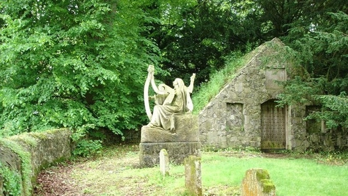 "The sculpture by Victor Segoffin was commissioned by Baron Edward O'Neill and his wife Louisa to mark the death in WW1 of their son Arthur O'Neill ""and the men of the district who fell with him."" It is now located in the family graveyard at Shane's Castle"