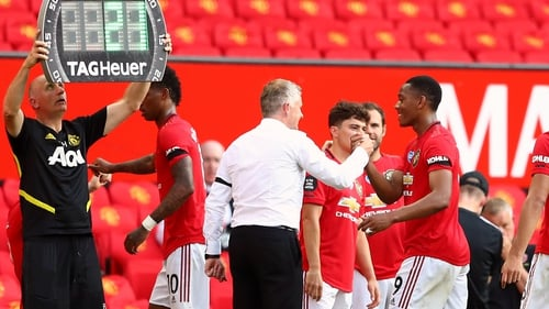 Ole Gunnar Solskjaer acknowledges the Red Devil's hat-trick hero as he is substituted late on