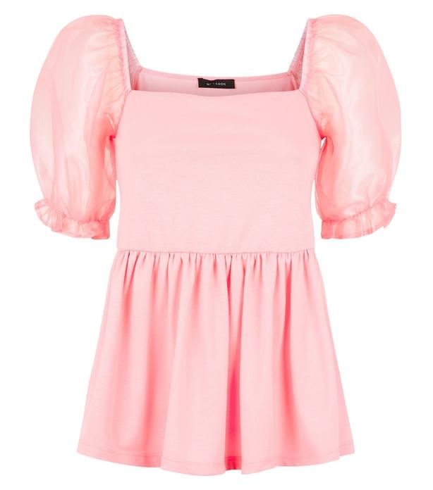 New Look Pink Organza Puff Sleeve Peplum Top