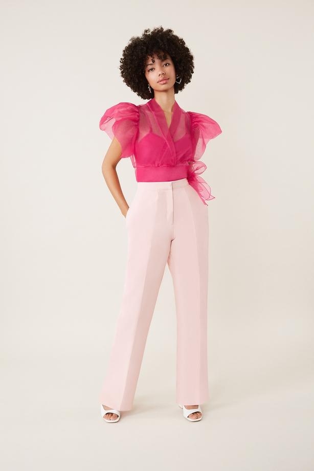 Coast Pink Blouse; Blush Crepe Trousers,