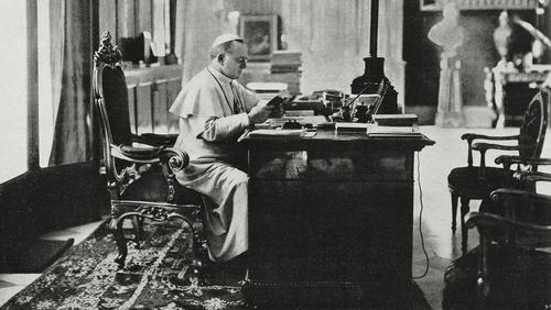 Pope Pius XI in his private study in the Vatican in 1922 before of the arrival of the Irish carpet. Photo: Getty Images