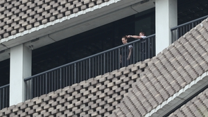 Police officers seen at the viewing platform shortly after the incident on 4 August 2019