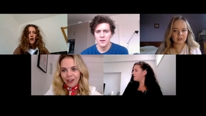 The cast of Derry Girls preparing for their Zoom chat with Saoirse Ronan