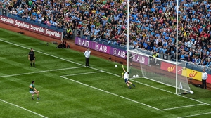 Dublin goalkeeper Stephen Cluxton saves a penalty from Kerry's Paul Geaney during last year's All-Ireland football final