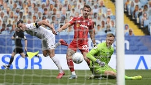 Jack Harrison of Leeds United scores his sides third goal