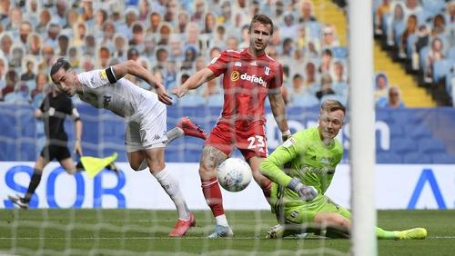 Jack Harrison of Leeds United scores his sides third goal