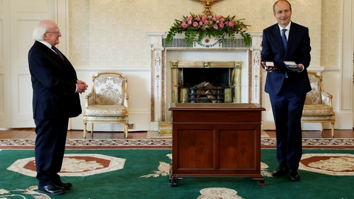 Micheál Martin received his seal of office from Michael D Higgins