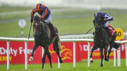 Santiago, left, with Seamie Heffernan wins the Dubai Duty Free Irish Derby