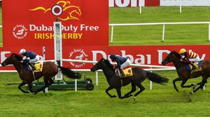 Buckhurst, left, wins the Dubai Duty Free Jumeirah Creekside Hotel Alleged Stakes