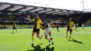 Long battling for possession with Watford's Craig Cathcart