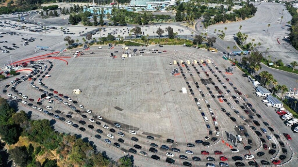 Aerial view of people in cars lined up for Covid-19 tests at Dodger Stadium LA
