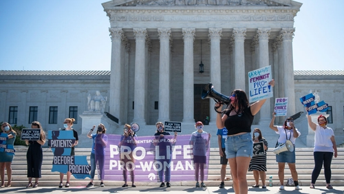 Anti-abortion demonstrators protested in front of the US Supreme Court ahead of the ruling