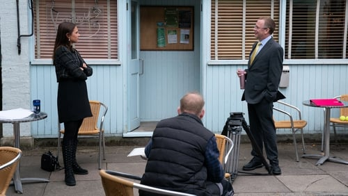 Milly Zero (Dotty) and Adam Woodyatt (Ian) practising social distancing on their first day back to filming
