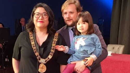 Hazel Chu with partner Patrick Costello and daughter Alex (Pic: @DubCityCouncil on Twitter)