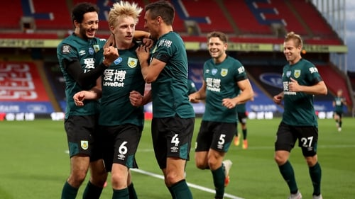 Ben Mee celebrates scoring what turned out to be the only goal of the game at Selhurst Park