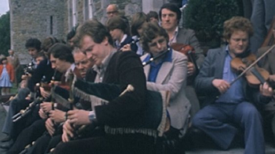 Musicians performing at Tionól Cheoil, Gormanston College, Co. Meath (1980)