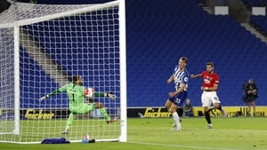 Bruno Fernandes volleying home his second and Manchester United's third at the Amex