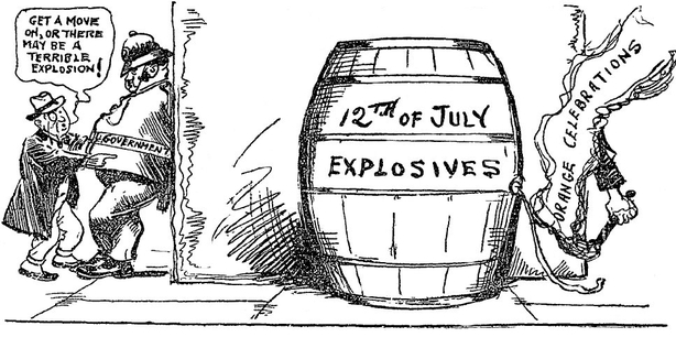 Cartoon suggesting the government are turning a blind eye to the potential of the Twelfth of July marches to cause violence. Photo: Sunday Independent, 4 July 1920