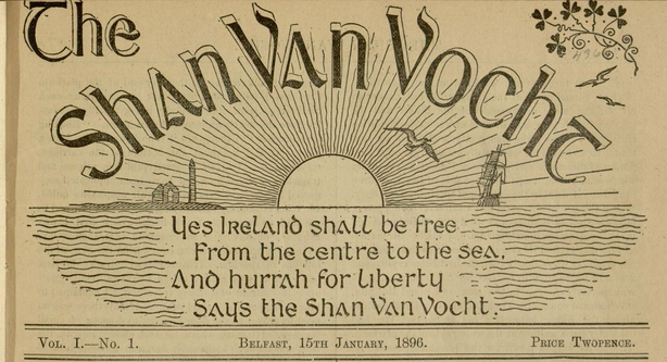 The banner of the Shan Van Vocht (an tSean Bhean Bhocht), the monthly literary magazine founded by Alice Milligan Photo: DigitalLibrary@Villanova University
