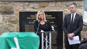 Michelle O'Neill was one of a number of senior Sinn Féin members at the funeral