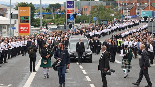 Around 2,000 mourners attended the funeral of Bobby Storey in West Belfast in June 2020, when public health regulations limited public gatherings to 30 people