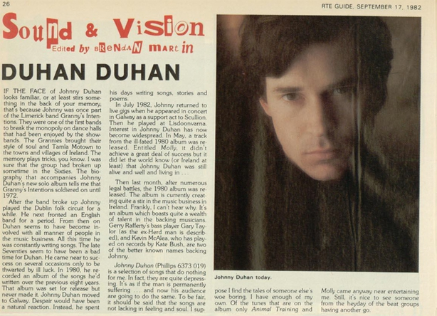 Johnny Duhan in the RTÉ Guide, 17 September 1982