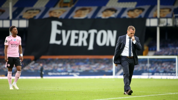 Leicester City manager Brendan Rodgers trudges off the Goodison pitch after the 2-1 defeat to Everton
