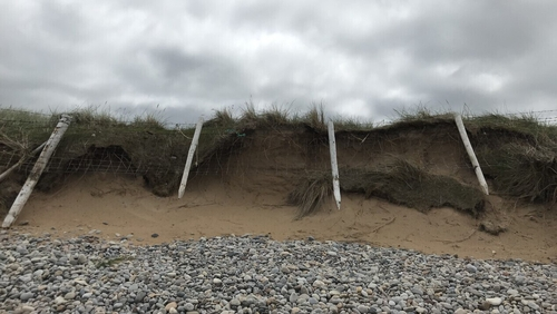 Coastal erosion at Pollan Strand in Ballyliffin