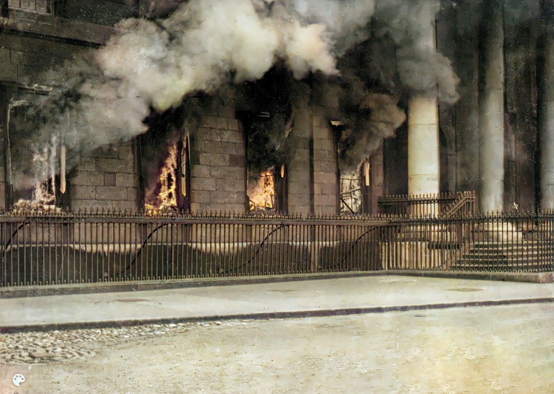 The burning of the Custom House Colourised pic of the Custom House on fire
