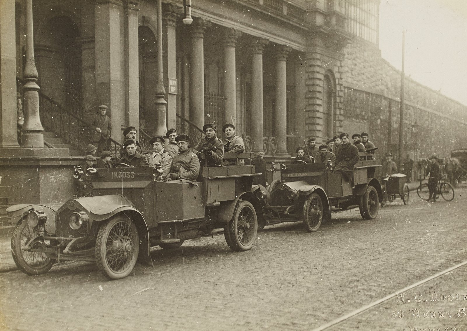 Image - Auxiliaries outside Amiens Street station, now Connolly Station, in 1921. Image courtesy of the National Library of Ireland