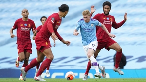 Kevin de Bruyne (c) in full flow against Liverpool