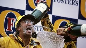 Eddie Jordan celebrates his team's 1-2 at the 1998 Belgium Grand Prix