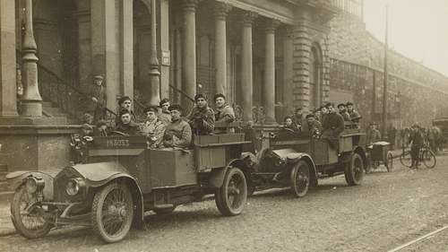British soldiers on Amiens Street, Dublin, in front of what is now Connolly Station
