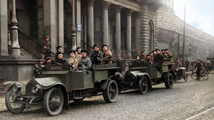 Auxiliaries in Dublin City Centre during the War of Independence. Image colourised by John Breslin
