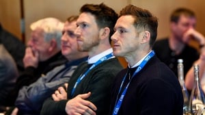 GPA CEO Paul Flynn, right, and GPA Chairman Séamus Hickey during this year's GAA Annual Congress at Croke Park