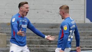 Ronan Curtis (L) celebrates with Cameron McGeehan