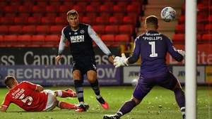Jake Cooper of Millwall scores the winning goal