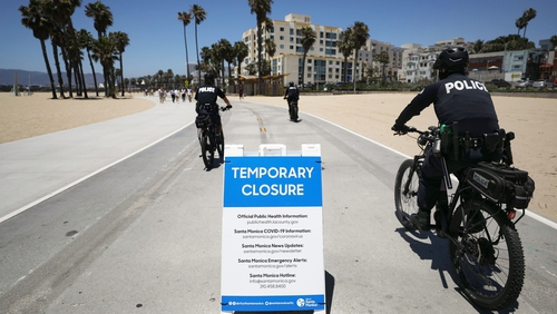 A closed beach in Santa Monica, California ahead of the 4th of July celebrations