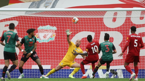 Liverpool's Senegalese striker Sadio Mane breaks the deadlock