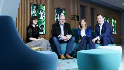 Pictured prior to Covid-19 restrictions are Enterprise Ireland's Jenny Melia; Mark Dunleavy, Head of Commercial, Ireland, Amazon Web Services; Aisling Teillard, CEO of Tandem HR and Keith Brock, from Enterprise Ireland