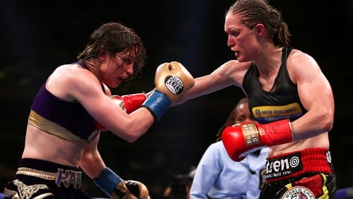 Katie Taylor (l) in action against Delfine Persoon