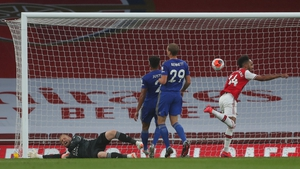 Pierre-Emerick Aubameyang scores the opening goal of the game