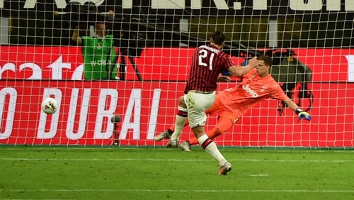 Zlatan Ibrahimovic scores from the penalty spot for AC Milan