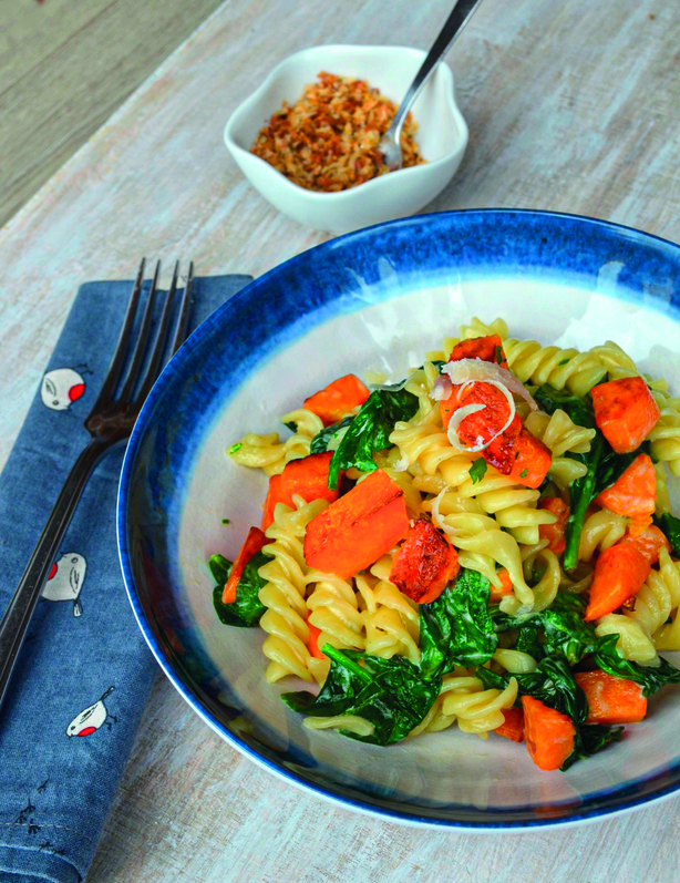 Spinach & roasted butternut squash fusilli