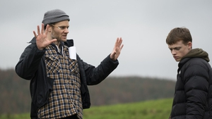 Director Phil Sheerin and actor Anson Boon on the set of The Winter Lake
