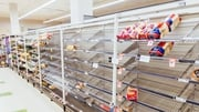 Near empty shelves in Melbourne after shoppers stockpiled goods ahead of the lockdown